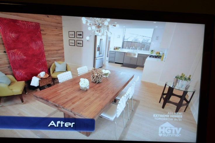 Property brothers dining room with wood feature wall barn for Property brothers dining room designs