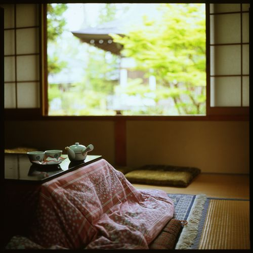 Japanese kotatsu table -small table with an electric heater underneath and covered by a quilt-