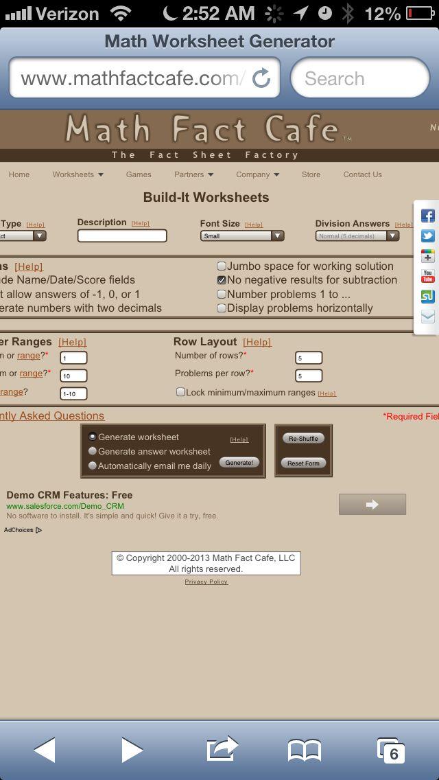 Multiplication Fact Worksheet Generator – Math Fact Worksheet Generator