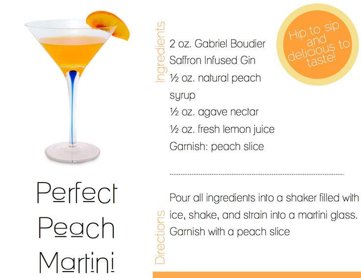Perfect Peach Martini | Edibles: Thirsty | Pinterest