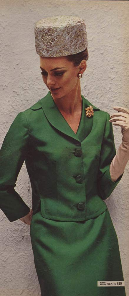 Vintage Women's Green Silk Dress from a 1964 catalog