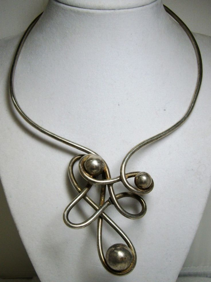 1970's Modernist Abstract Hand Forged Sterling Silver Collar Necklace