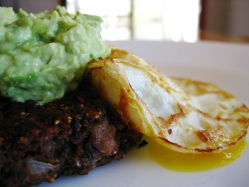 Black Bean Cakes with Fried Egg and Avocado Crema(adapted from chow ...