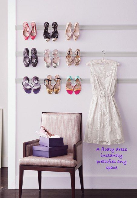 How To: Organize Your Stuff: Hang your party heels like fine art.