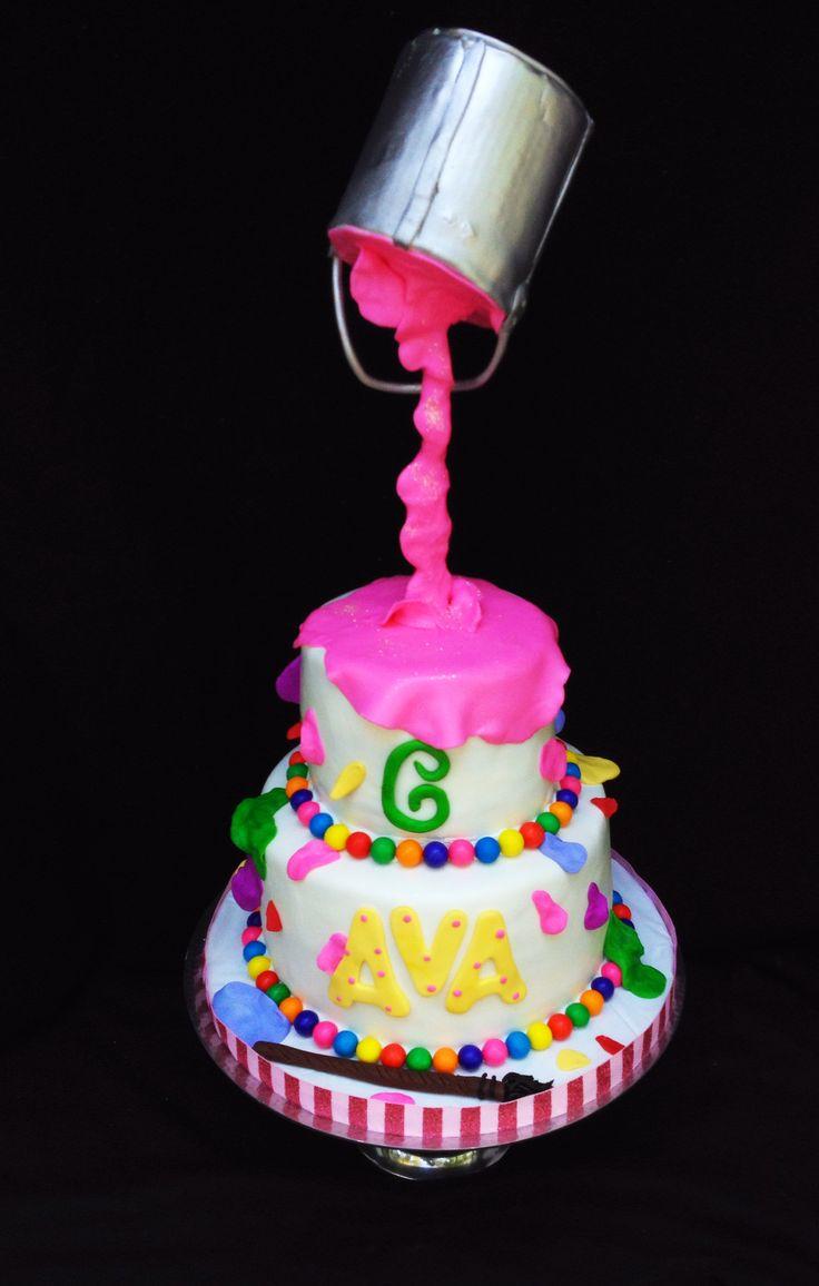 Pouring paint art cake sweet samantha cake decorating for Art cake decoration