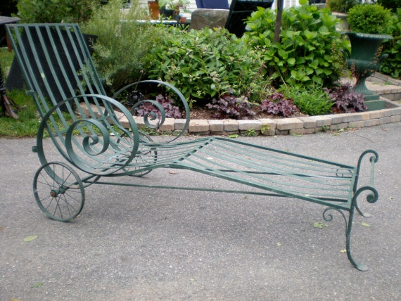 Vintage Wrought Iron Chaise With Canopy Holders