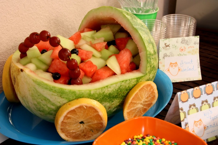 cute way to serve fruit at a baby shower