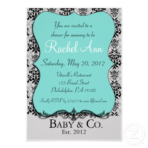 tiffany blue baby and co shower invitation card