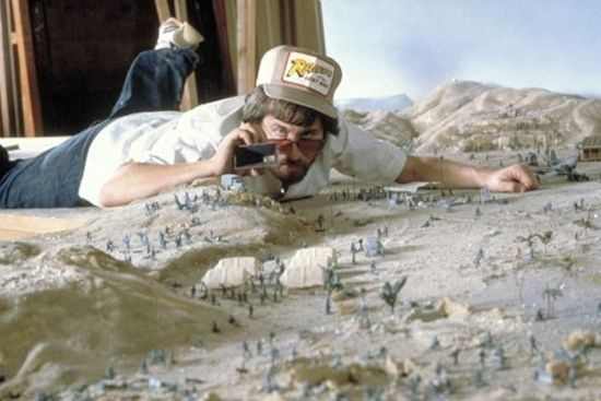 Steven Spielberg on the mini set of Raiders of The Lost Ark.