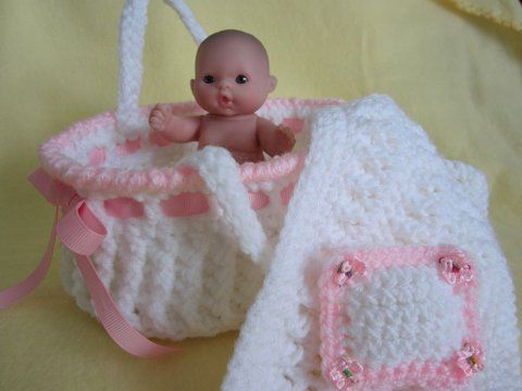 Knitting Pattern For Dolls Moses Basket : Moses Basket Crochet for Berenguer Baby Doll or similar by ...