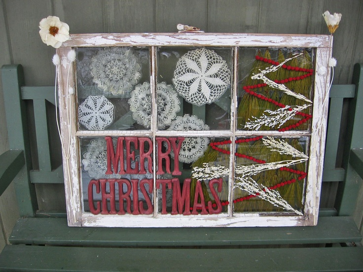 Old Window Frame Holiday Decor | Holiday Decorations | Pinterest