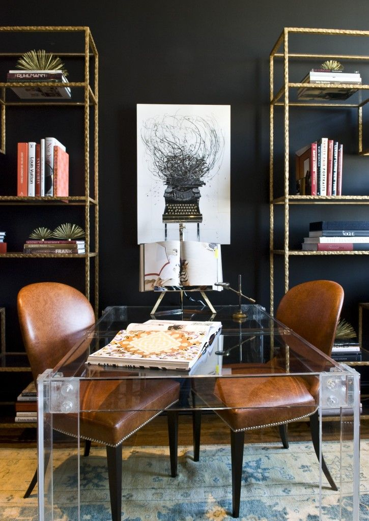 Office Decor - love the tall shelves :)