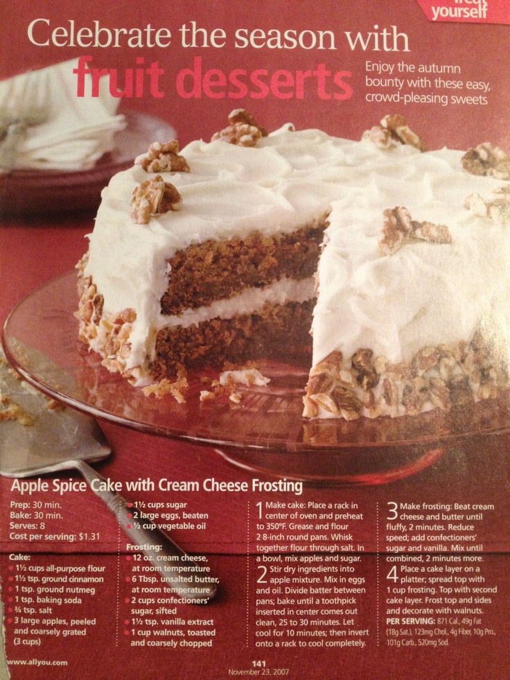 Apple Spice Cake/cream cheese frosting | Desserts | Pinterest