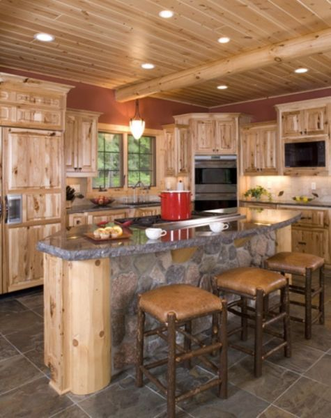 Rustic hickory cabinets kitchen pinterest for Kitchen cabinets rustic