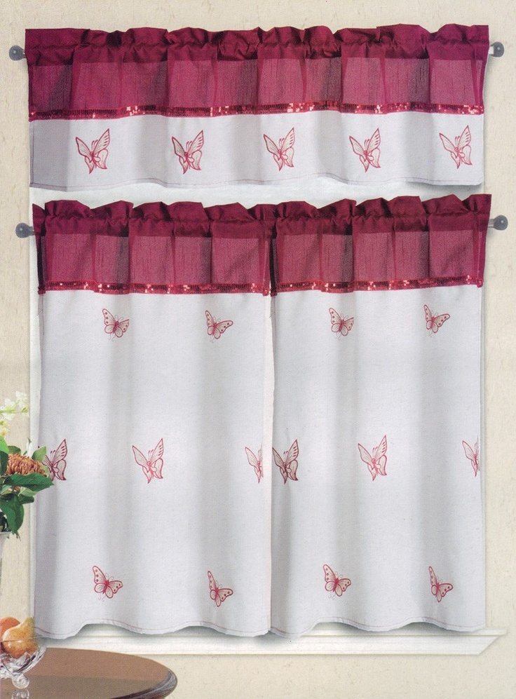 Isabella butterfly embroidered kitchen curtain white - Kitchen curtains pinterest ...