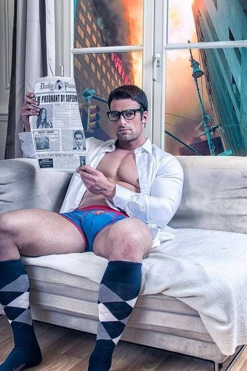 Superman undies briefs / glasses - he's reading the daily news - and knee high argyle socks - hot