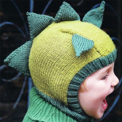 Dinosaur Knit Hat Pattern : Dinosaur Hat from Knitted Animal Hats Knitspiration - Cool knits