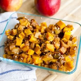 Maple Roasted Apples and Butternut Squash with pecans.