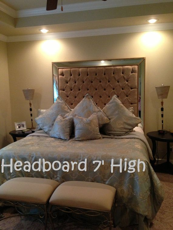 Queen Size Upholstered Headboard with Mirrors by NewAgainUph, $950.00