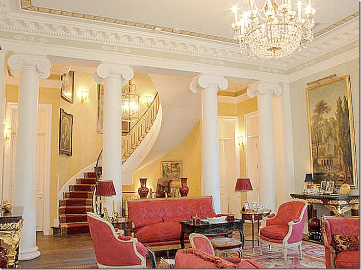 Living Room With Columns And Staircase Interior Design Pinterest