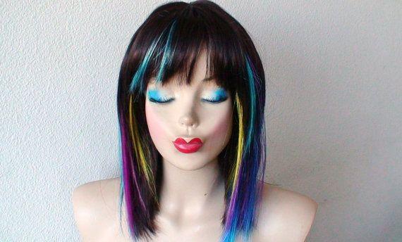 ... Ombre/ Auburn wig. Straight hair with rainbow highlights wig