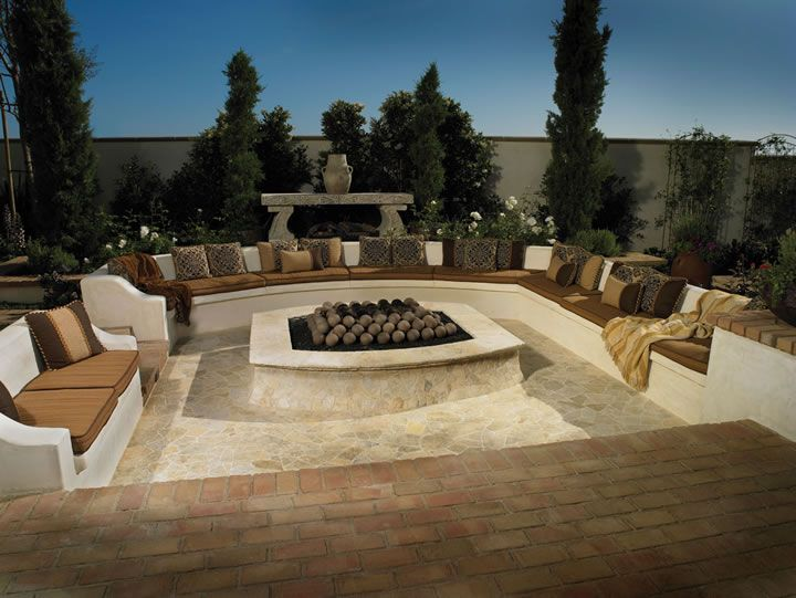 Large Outdoor Seating Area With Fire Pit When I Win The