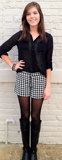 Pied de Poulé Outfit - Black blouse, houndstooth shorts, black stockings and black leather knee length boots.