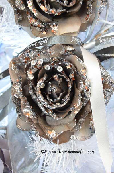 MAGNIFIQUES, ces roses givrees, que vous pourrez mettre sur votre table ou sur votre sapin http://www.decodefete.com/rose-givree-gris-anthracite-p-3774.html #noel #deconoel #sapin #fete #decoration