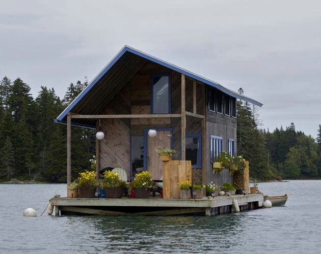 Hand build floating cabin in perry creek outdoors for Small house plans maine