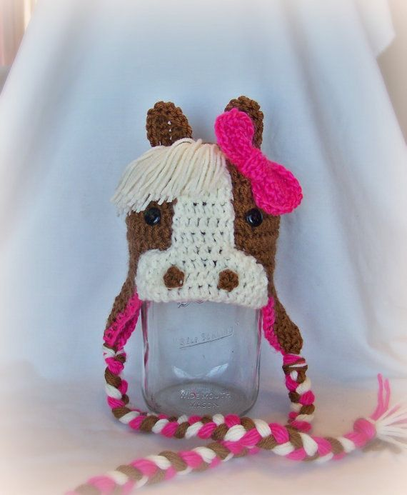 Crochet Animal Hats : Crochet Horse Hat, Pony Cap, Crochet Animal Hat, Warm Hat, Newborn to ...