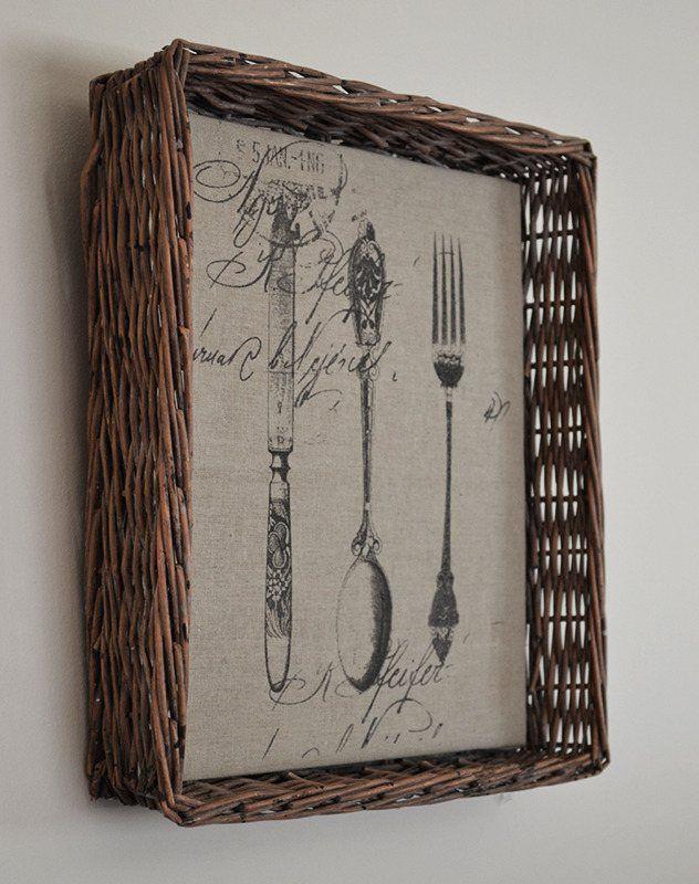 willow basketware cutlery art side