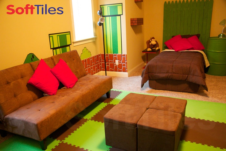 mario themed bedroom the lime and brown softtiles really tie the wall