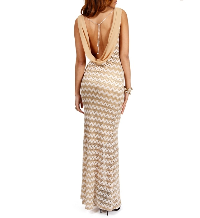 Ivory/Taupe Zig Zag Crochet Long Dress | Watch your back | Pinterest