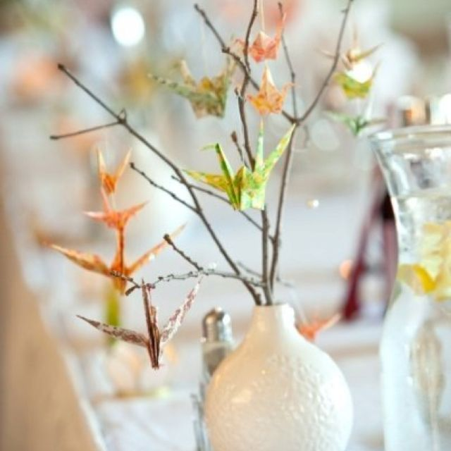 origami crane centerpieces getting hitched pinterest