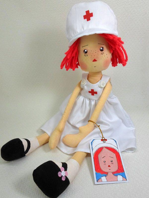 ТКАНЬ SOFT КУКЛЫ Тряпичная Энни ~ МЕДСЕСТРА ANNIE рыжие волосы по ANNIEPRIMDOLLS