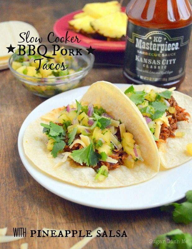 Slow Cooker BBQ Pork Tacos with Pineapple Salsa via www.sugardishme ...