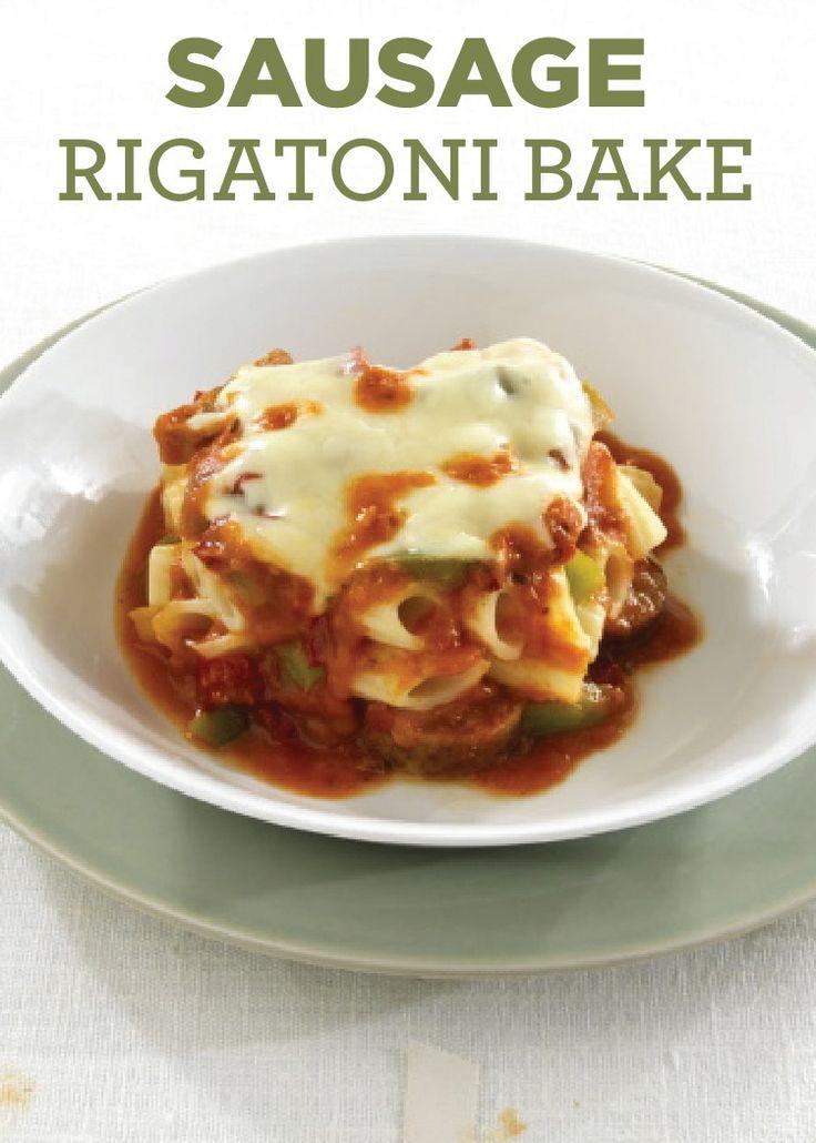Sausage Rigatoni Bake - Rigatoni pasta recipe layered between a pasta ...