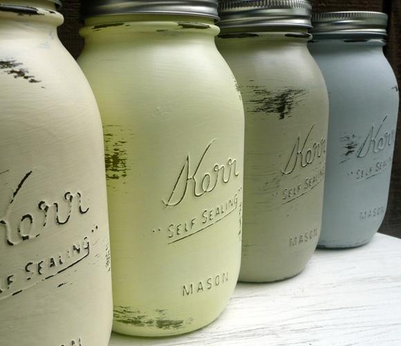 Sea Colored Mason Jars