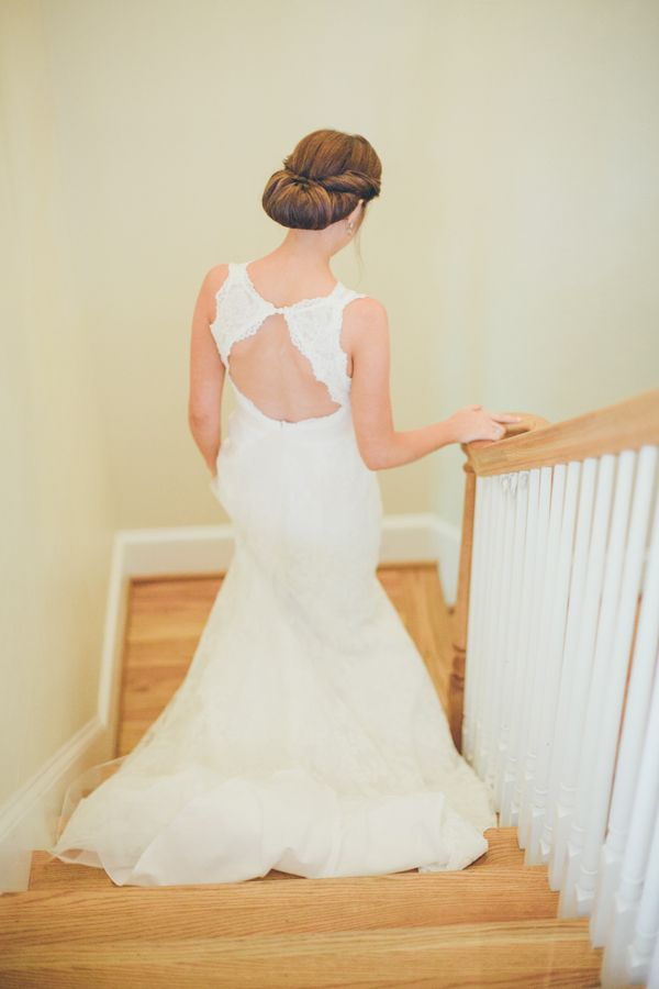 beautiful lace #wedding gown with open back | White Rabbit Studios