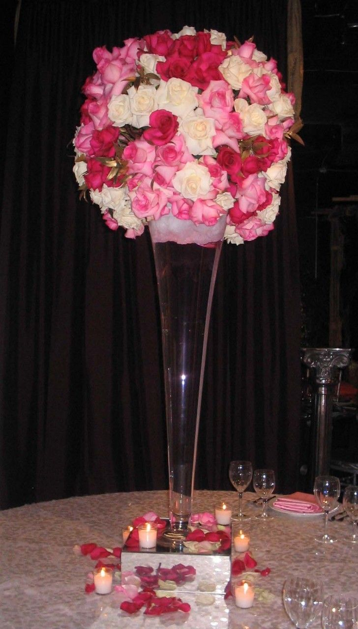 centerpiece tall glass vase with roses