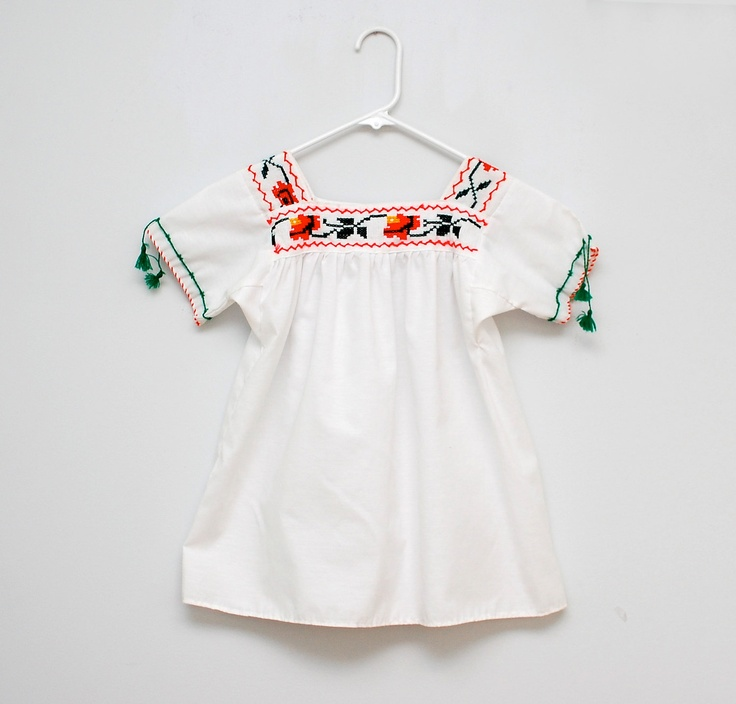 Vintage Mexican embroidered shirt - love the various styles of Mexican embroidery
