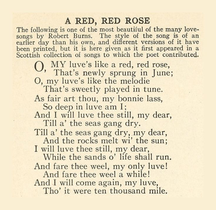 the theme of love in a red red rose by robert burns Love is a very popular theme that is often used in poetry  my love is like a red  red rose (robert burns) and first love (john clare.