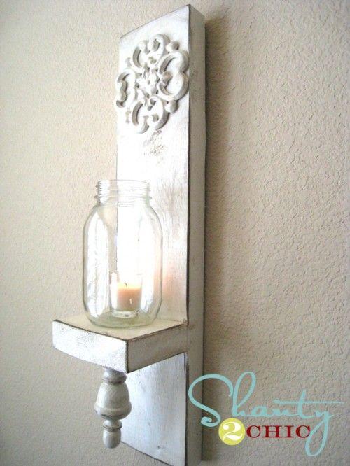 Diy Mason Jar Wall Sconces : DIY Mason Jar Wall Sconce Shanty s Tutorials Pinterest