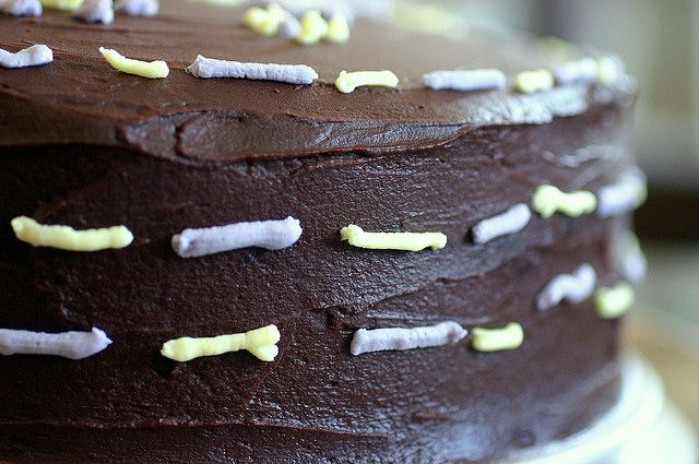 double chocolate layer cake with optional raspberry filling via ...