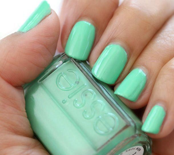 mint sea foam green nails