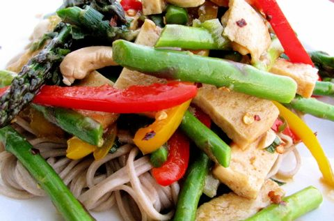 Tofu stir-fry. Minus the Soba noodles, and add brown rice.
