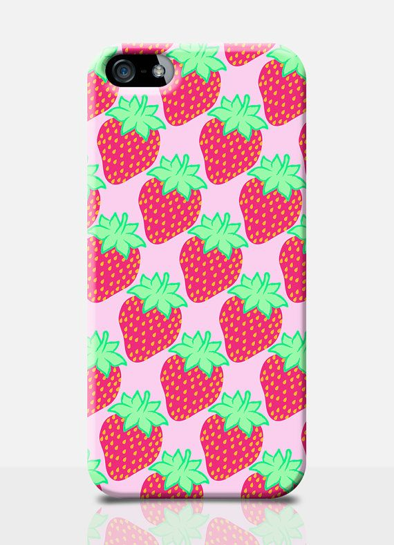 STRAWBERRY Print iPhone Case Pink iPhone by ...