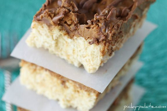 Chocolate Peanut Butter Cup Layered Krispie Treats
