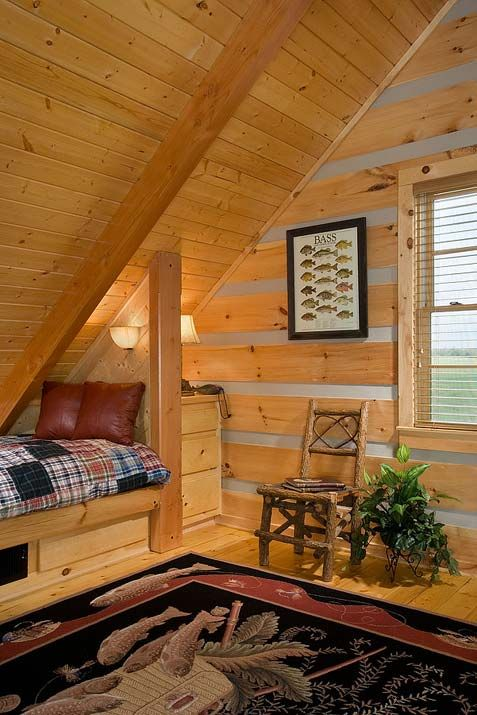 Hunting Cabin Loft Log Homes Pinterest