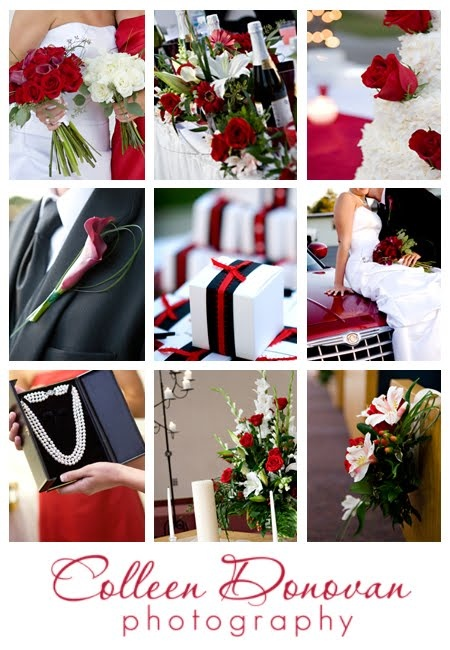 Red, black and white wedding details